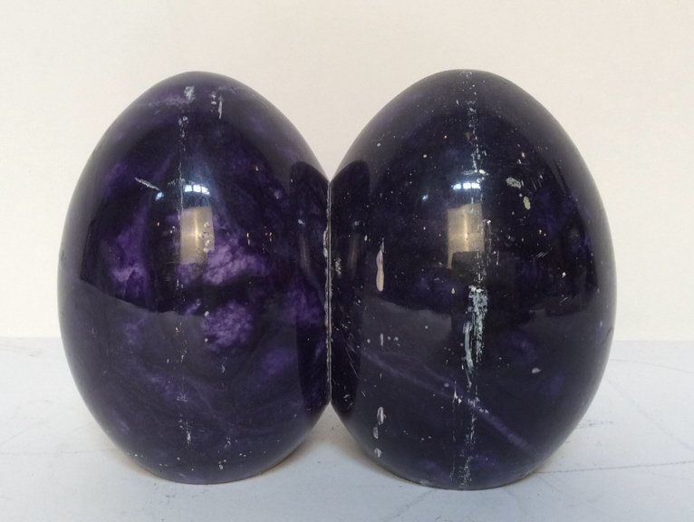 Pair Polished Purple Marble Egg Bookends
