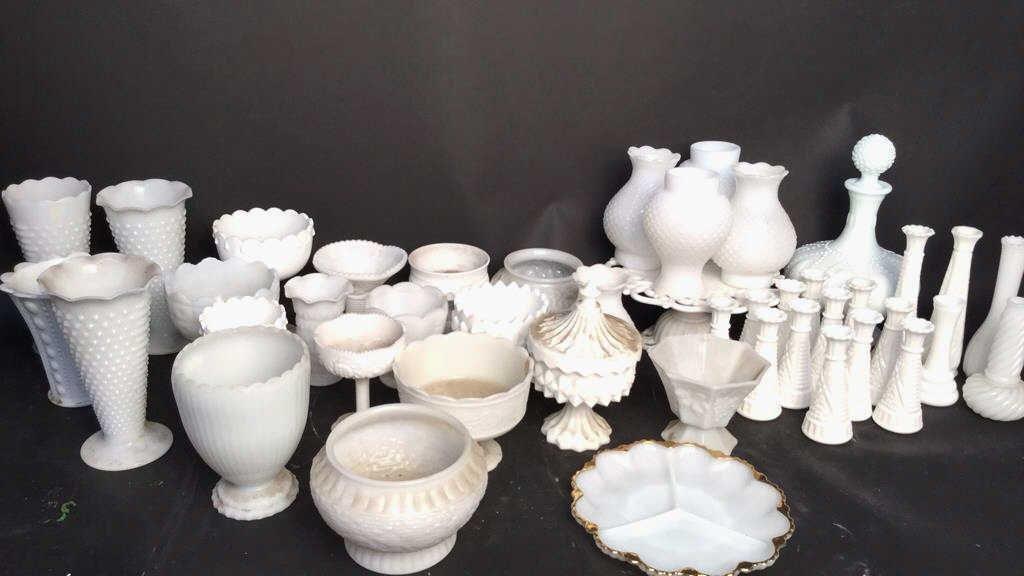 44 White Milk Glass Group Lot