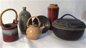 group lot signed 6 pieces art pottery