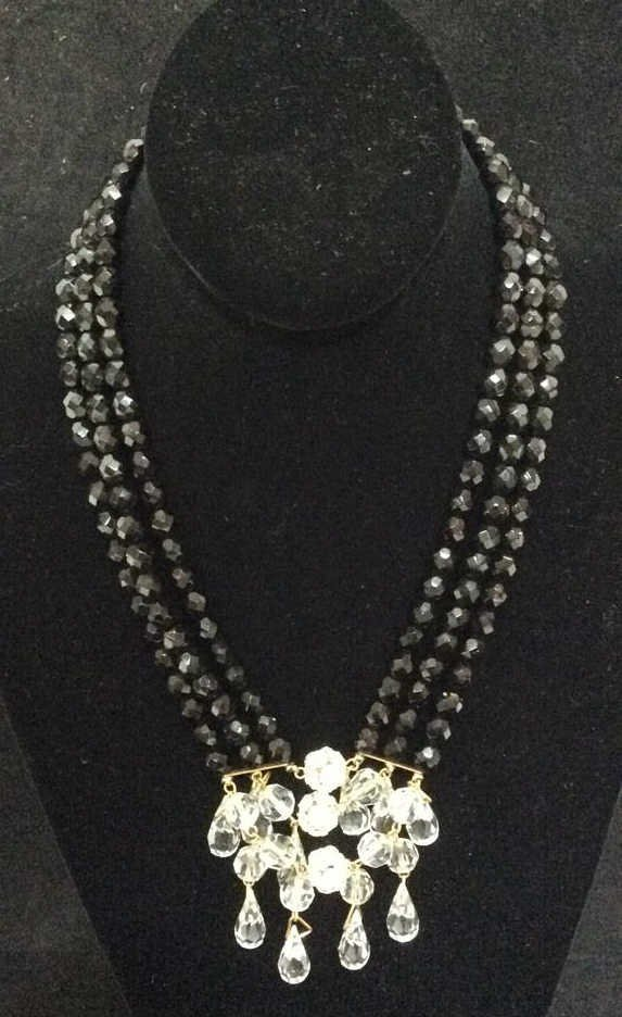 Black Beaded Crystal Necklace