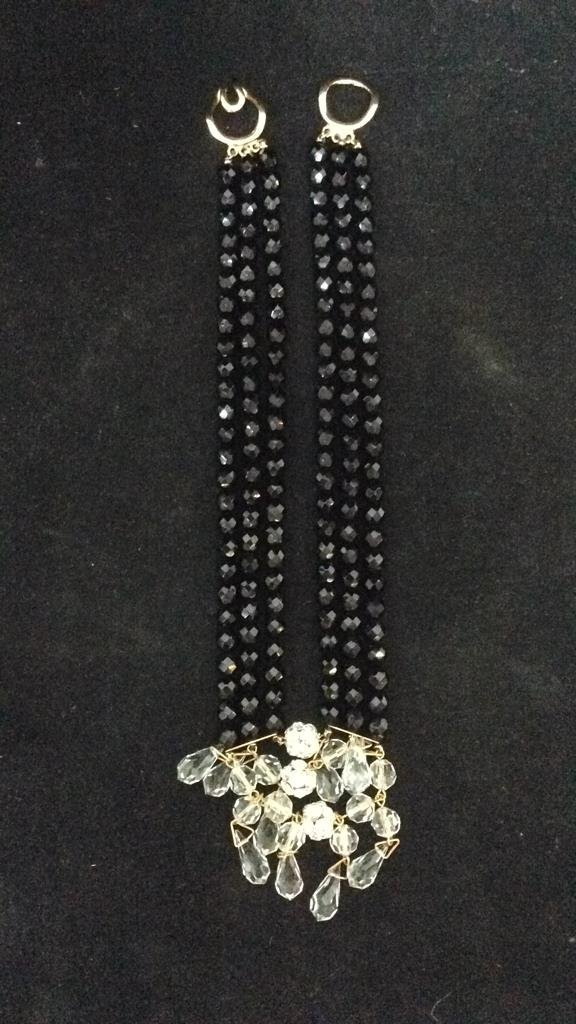 Black Beaded Crystal Necklace - 3