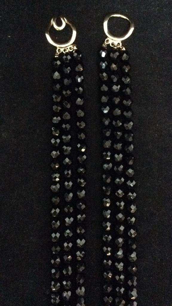Black Beaded Crystal Necklace - 4
