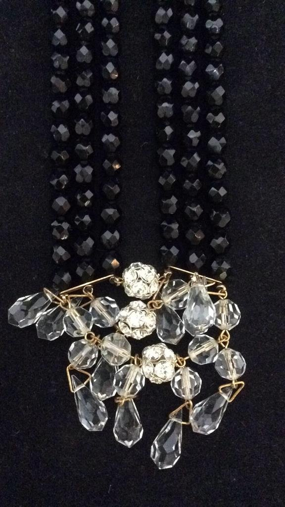 Black Beaded Crystal Necklace - 5