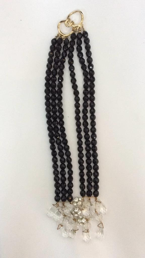 Black Beaded Crystal Necklace - 6