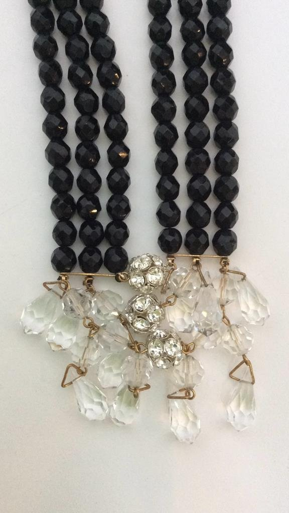 Black Beaded Crystal Necklace - 7