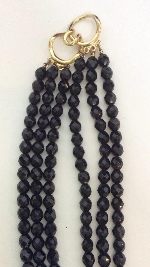 Black Beaded Crystal Necklace - 8