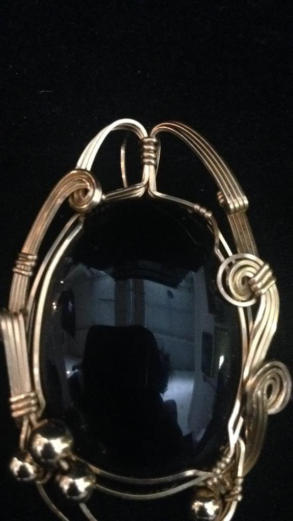 Black Stone with Gold Colored Wire Frame - 2