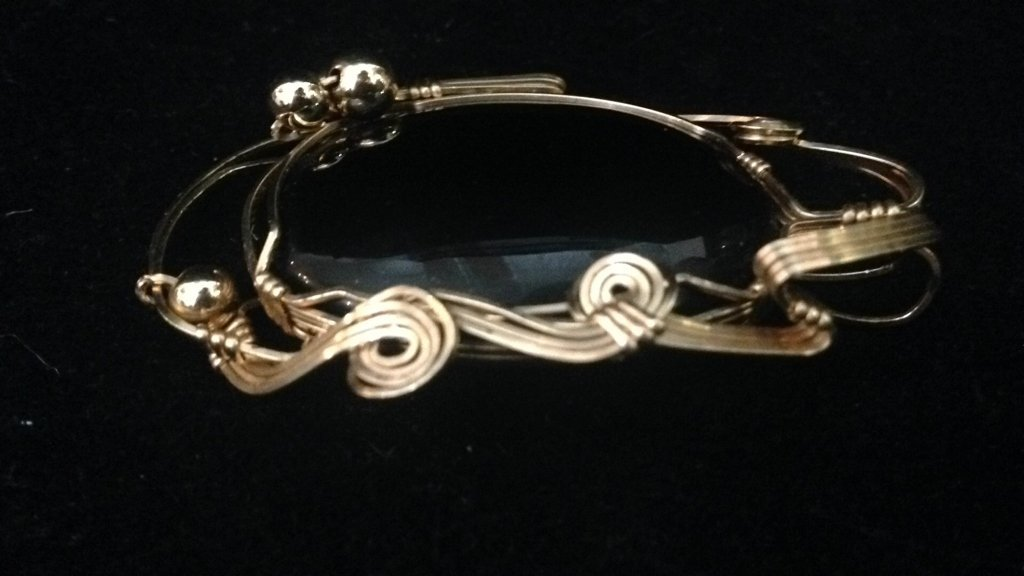 Black Stone with Gold Colored Wire Frame - 4