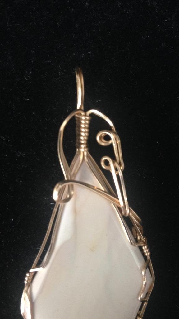 White Stone With Gold Colored Wire Frame - 2