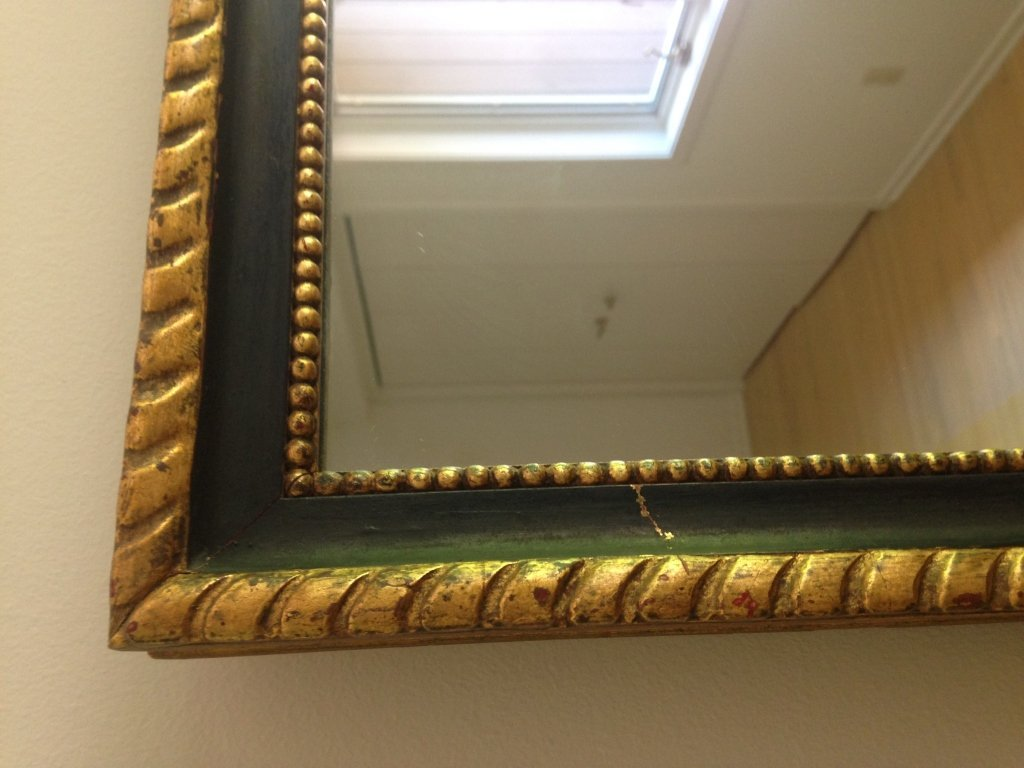 Black & Gold Leaf Painted Wood Mirror - 2