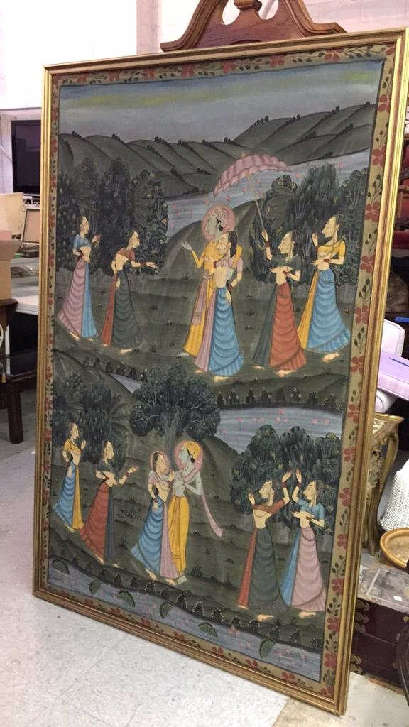 Antique Hand Painted Silk Egyptian Garden