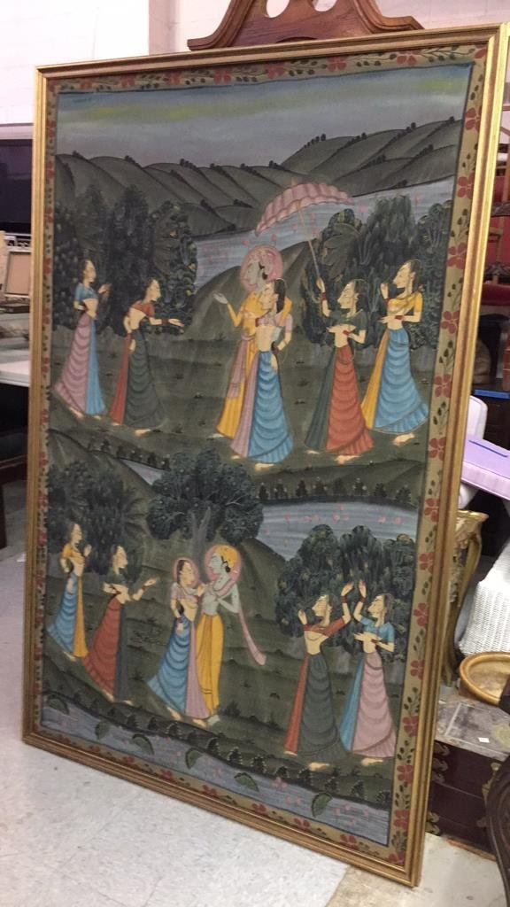 Antique Hand Painted Silk Egyptian Garden - 9
