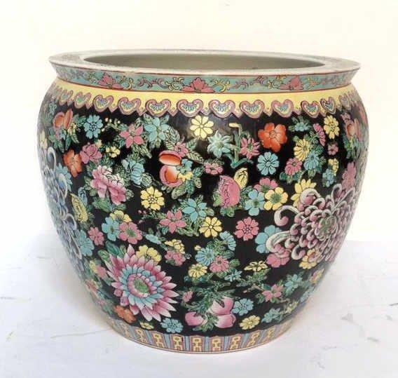 Asian Floral Fish Bowl