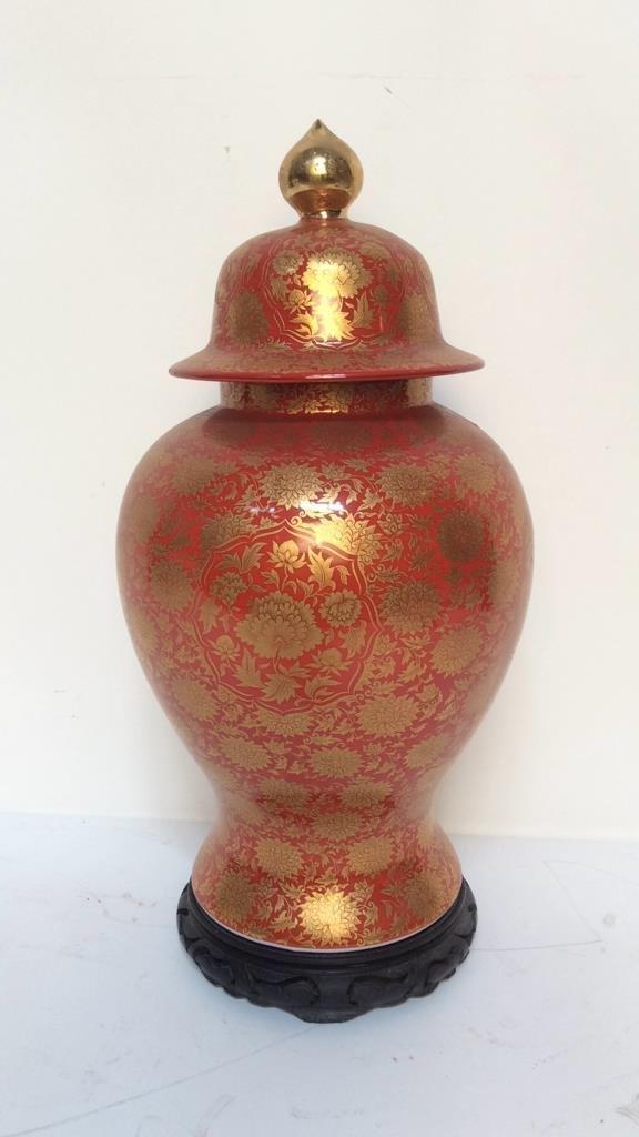Orange & Gold Painted Asian Lidded Urn