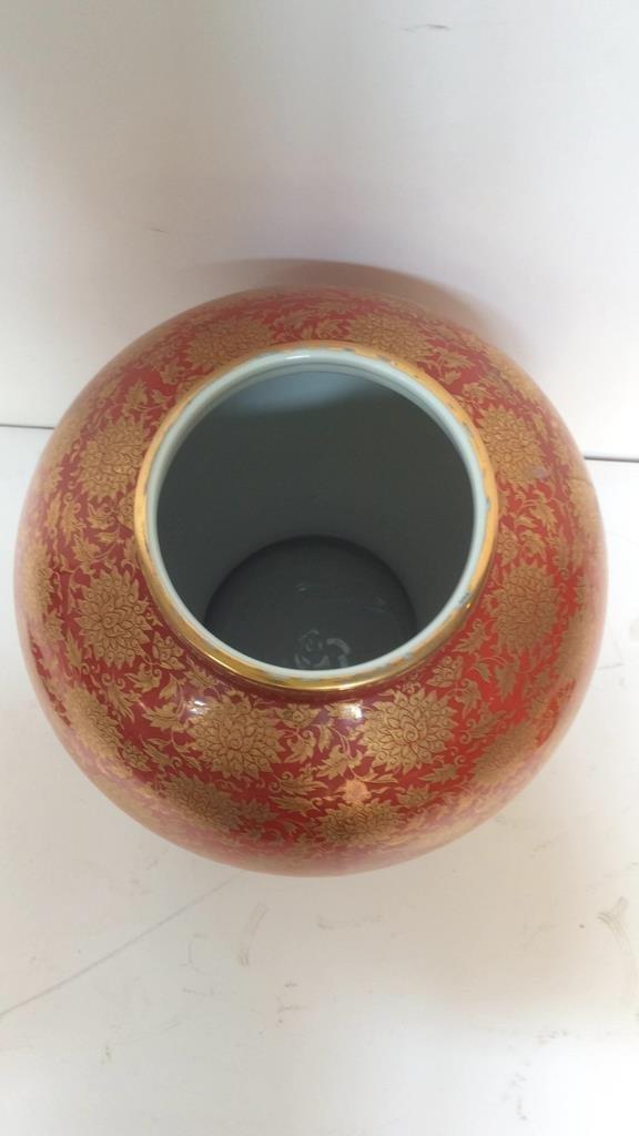 Orange & Gold Painted Asian Lidded Urn - 4