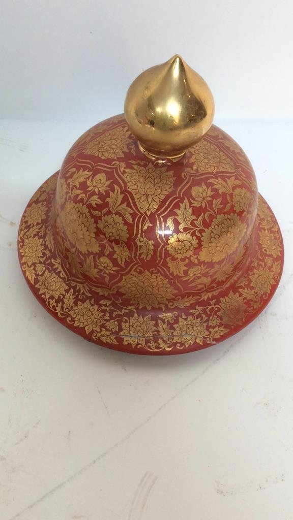 Orange & Gold Painted Asian Lidded Urn - 6
