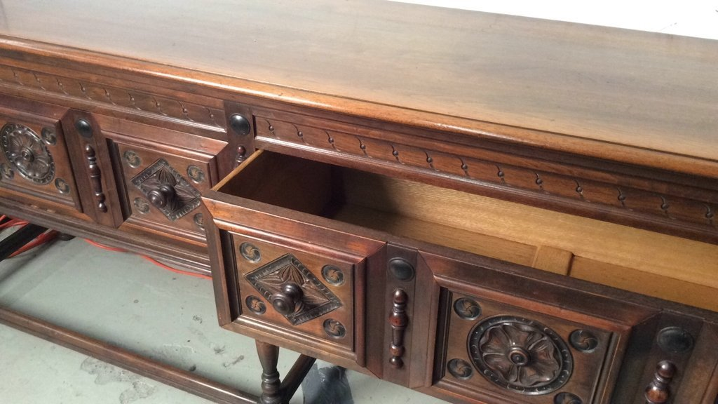 Antique JB VAN SCIVER CO Mahogany Carved Console - 6