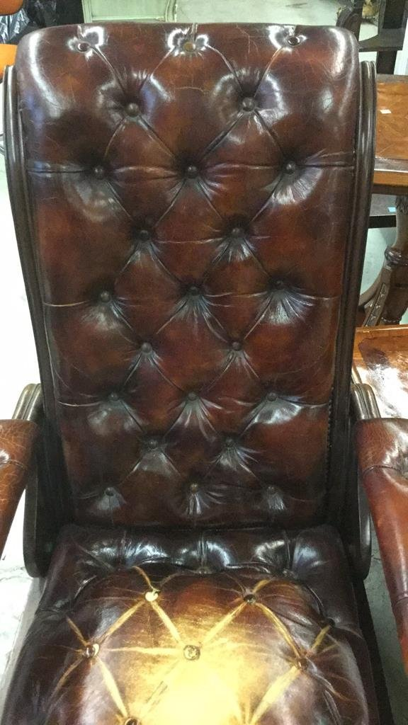 Antique Leather Arm Chair - 3