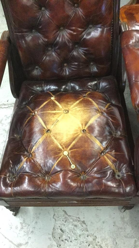 Antique Leather Arm Chair - 4