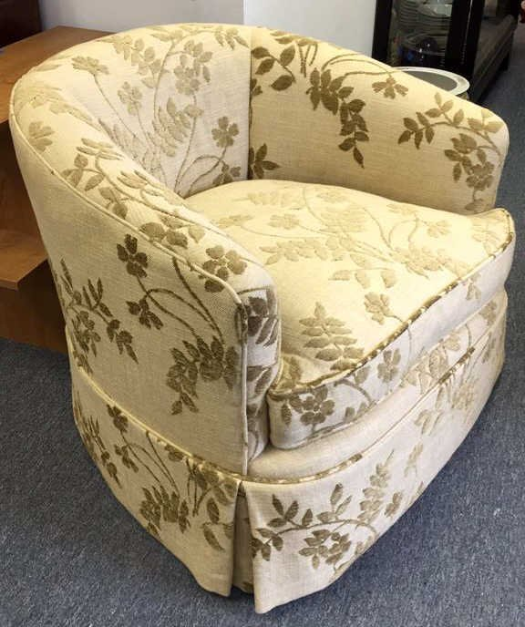 Pair Vintage Barrel Upholstered Swivel Armchairs - 2