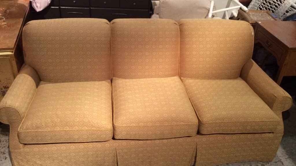 Three Person Gold Unique Pattern Couch - 2