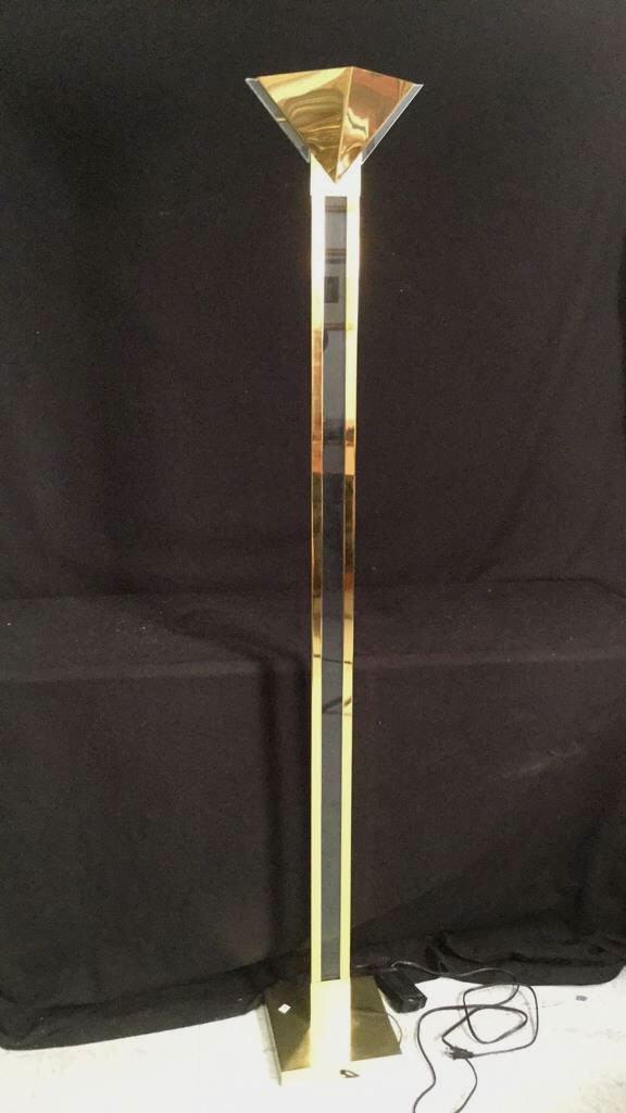 Modern Brass and Glass Floor Lamp