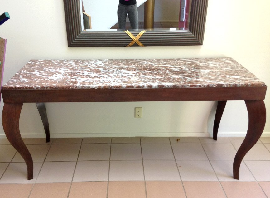 Heavy Metal Console Table with Marble Top