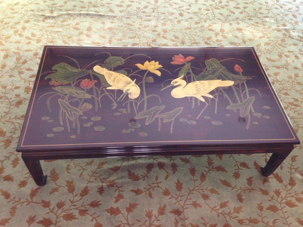 Asian Style Rich Brown Painted Coffee Table