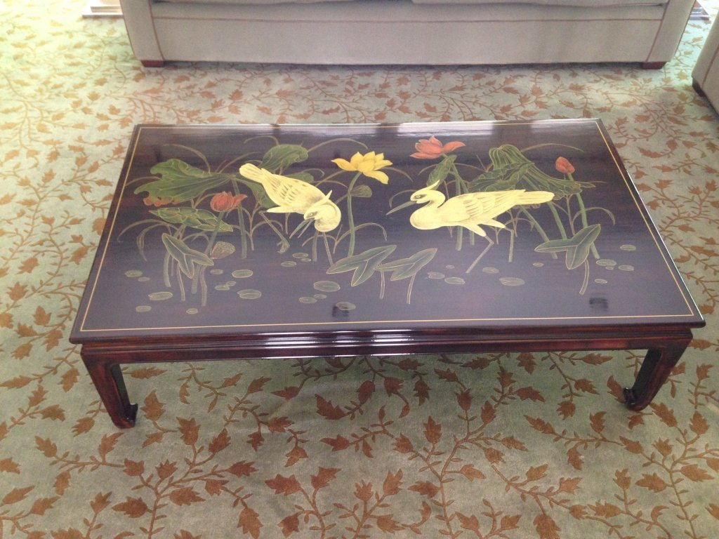 Asian Style Rich Brown Painted Coffee Table - 2
