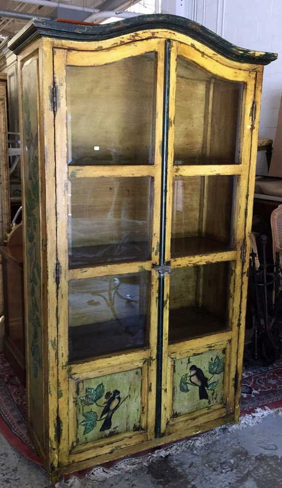 Antique Country French Rustic Display Cabinet