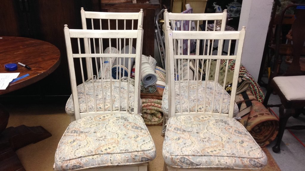 Set 4 COUNTRY WILLOW White Wood Chairs - 2