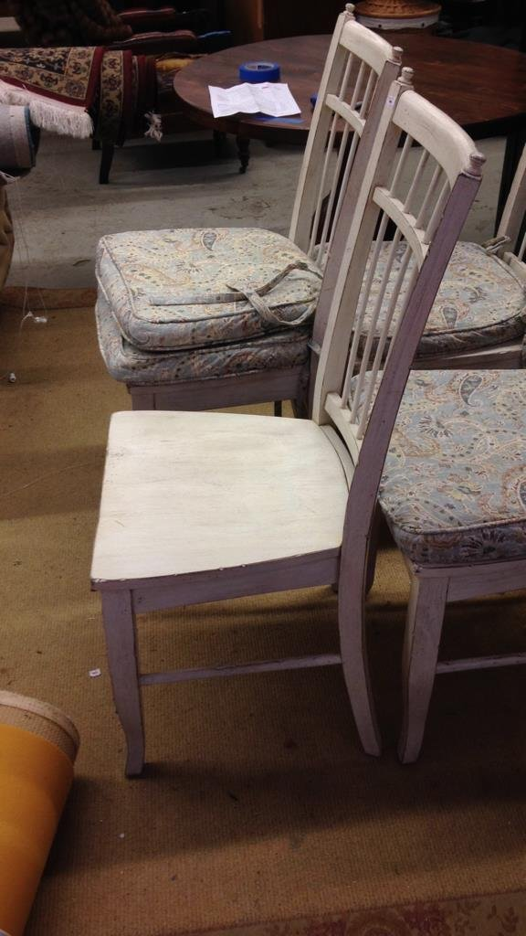 Set 4 COUNTRY WILLOW White Wood Chairs - 3