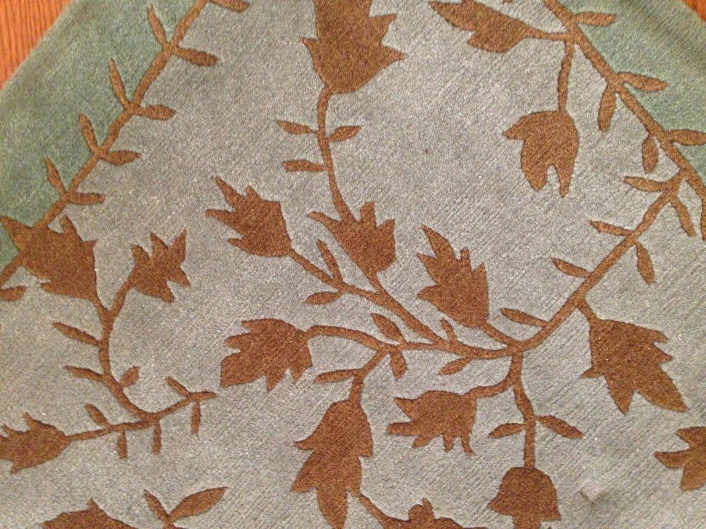 Handmade Blue Green Gold Leaf Pattern Carpet
