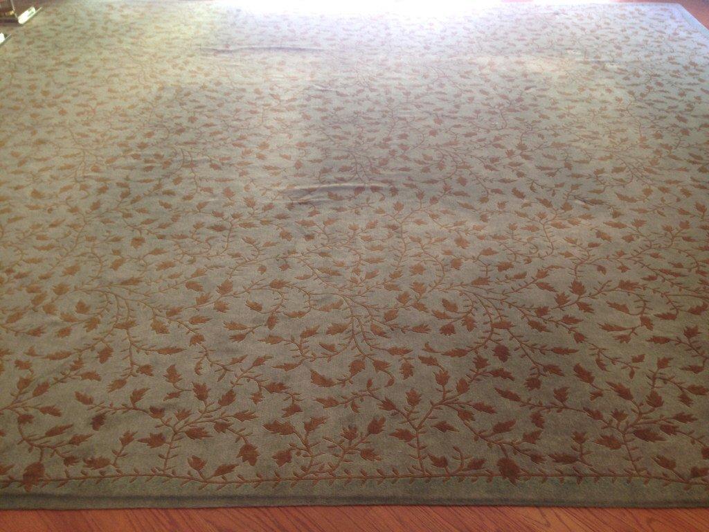 Handmade Blue Green Gold Leaf Pattern Carpet - 2