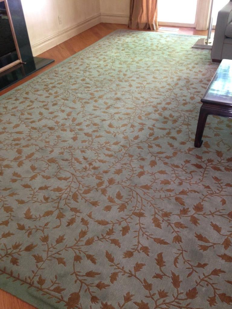 Handmade Blue Green Gold Leaf Pattern Carpet - 3