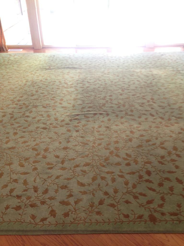 Handmade Blue Green Gold Leaf Pattern Carpet - 4