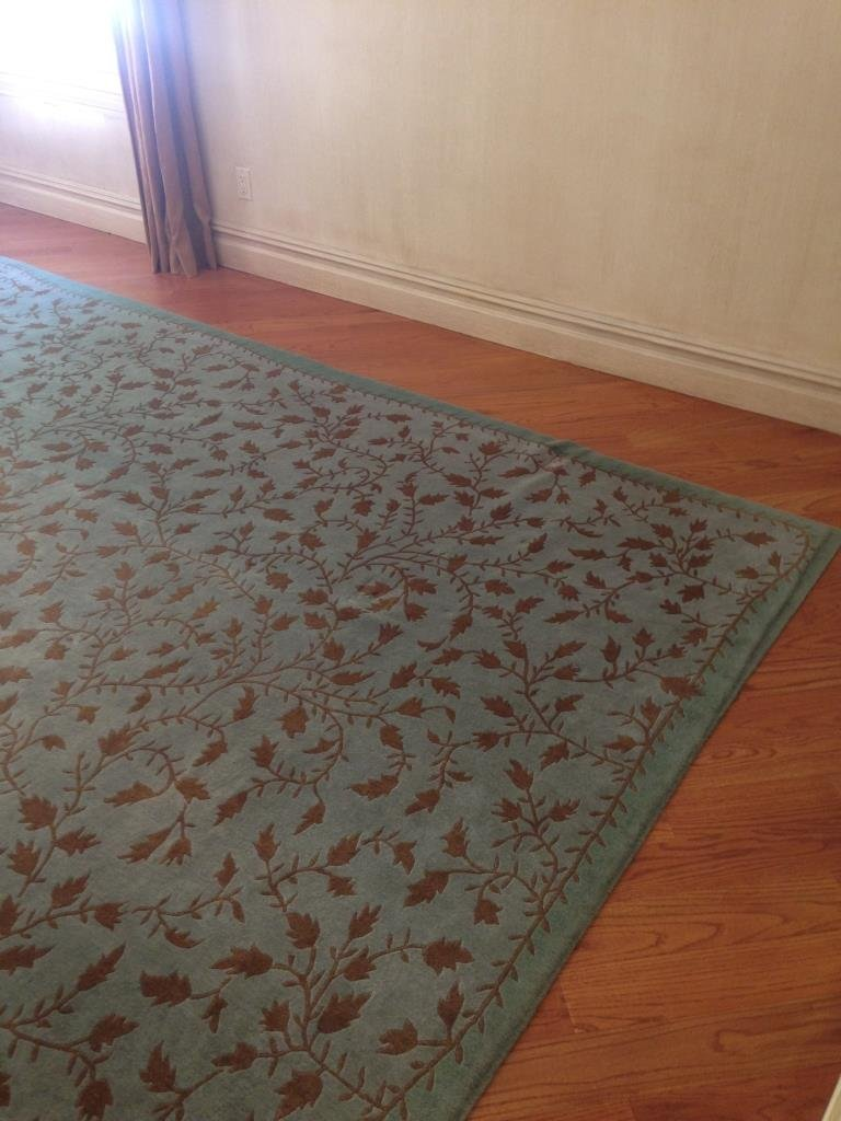 Handmade Blue Green Gold Leaf Pattern Carpet - 5