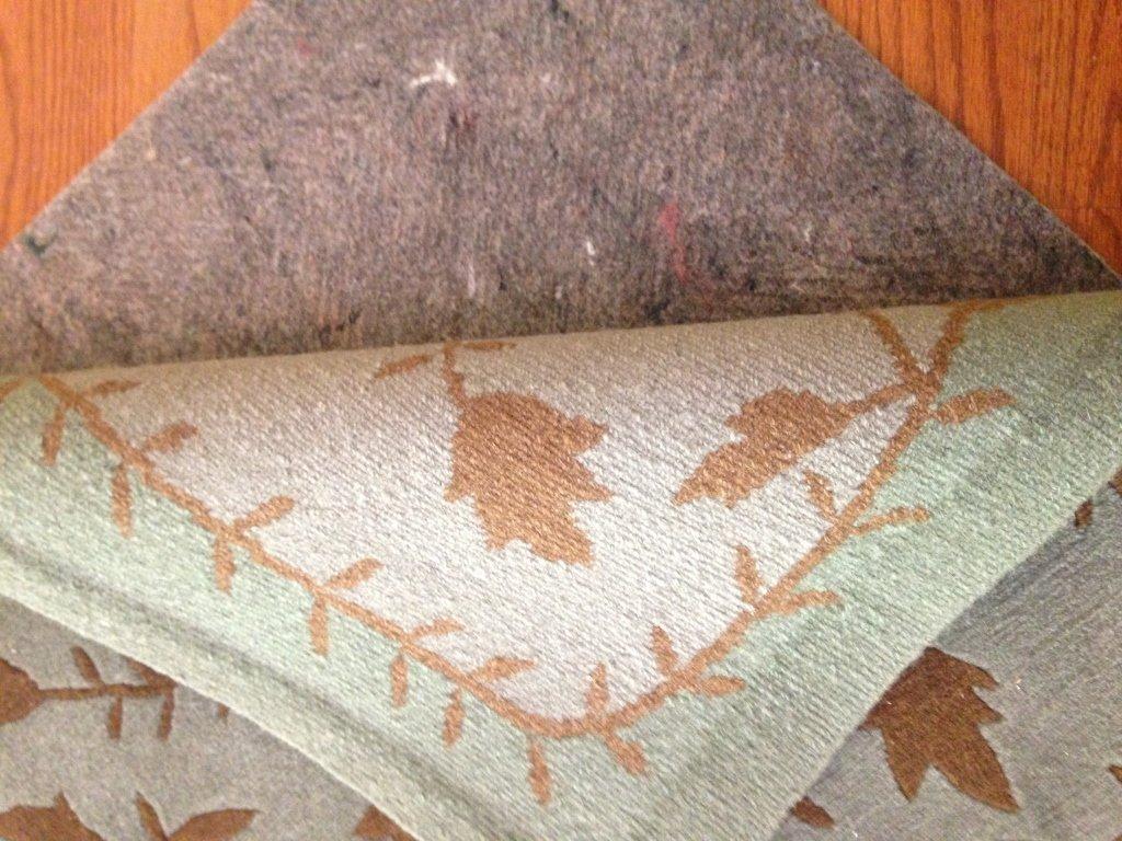 Handmade Blue Green Gold Leaf Pattern Carpet - 7