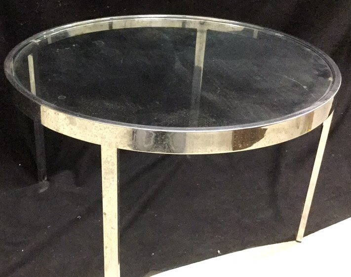 Modern Glass and Chrome Circular End Table