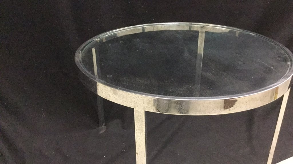 Modern Glass and Chrome Circular End Table - 2