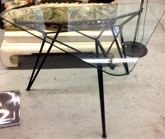 Modern Glass & Metal Triangular Table - 2