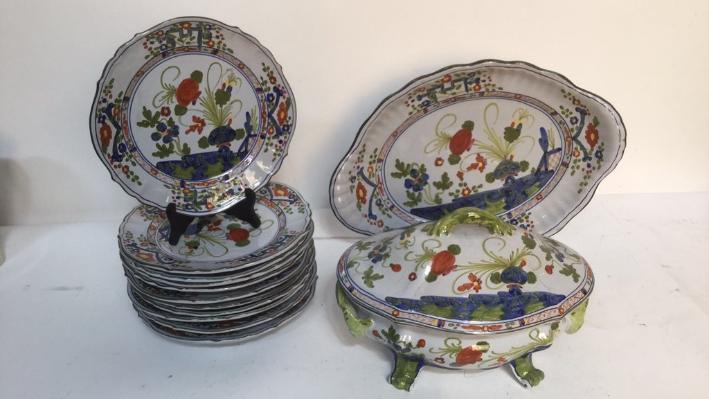 Set of Hand Painted Italian Plates and Service