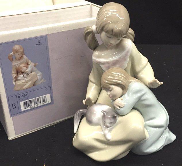 LLADRO Little Sister Figurine with Kitten
