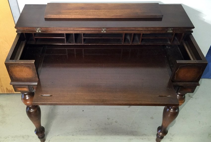 Antique HEKMAN Secretary Table with Turned Legs