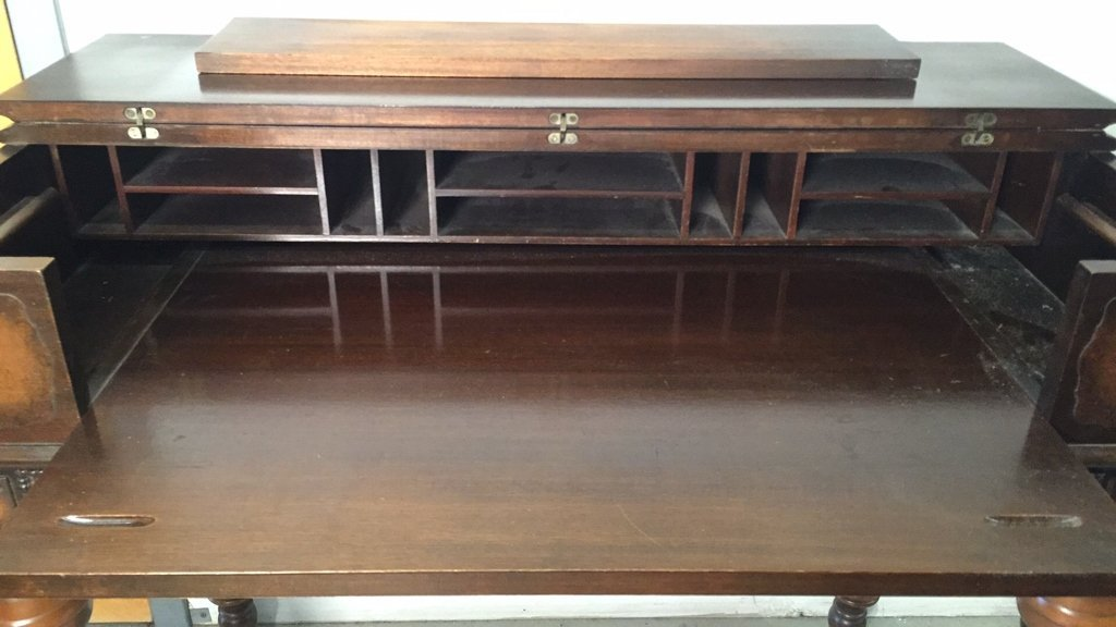 Antique HEKMAN Secretary Table with Turned Legs - 3