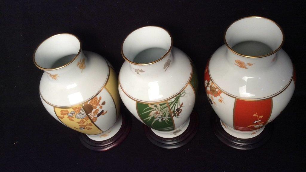 Set of 3 Franklin Porcelain Okura Vases - 4