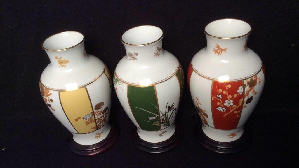 Set of 3 Franklin Porcelain Okura Vases - 5