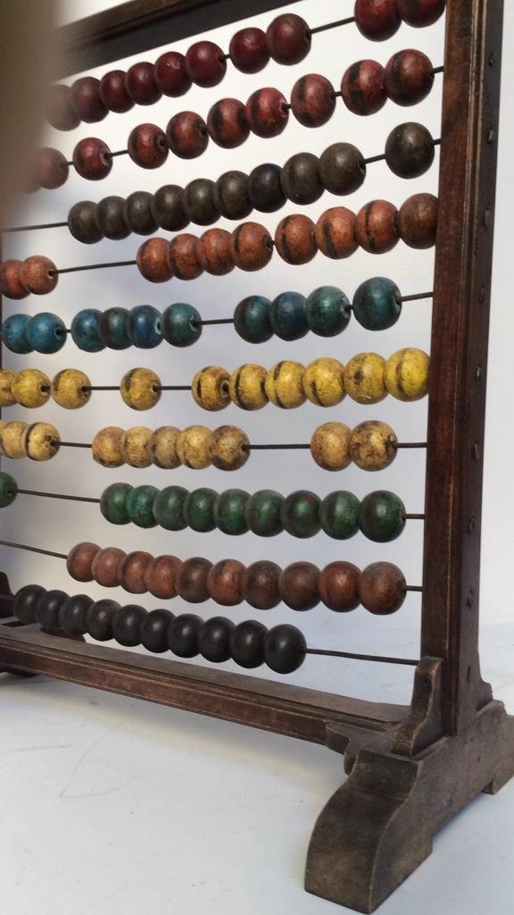 Antique painted wood and metal Abacus - 3