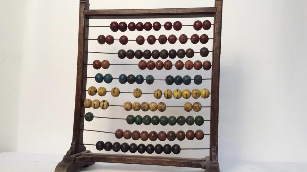 Antique painted wood and metal Abacus - 4