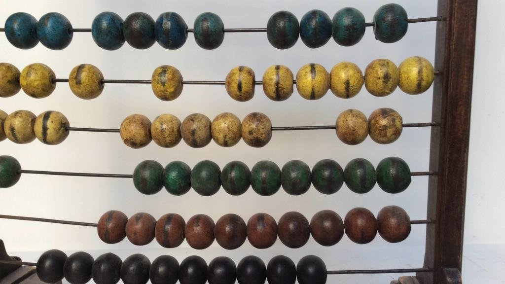 Antique painted wood and metal Abacus - 5